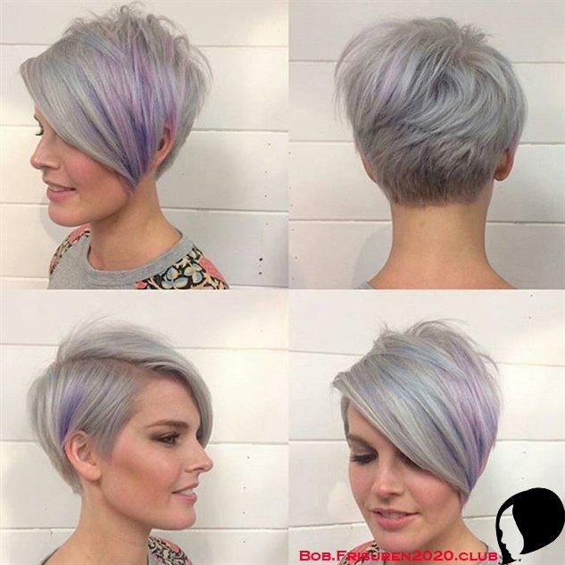 Längere Pixie Schnitt mit langen Pony Frisur graue Haarfarbe Ideen