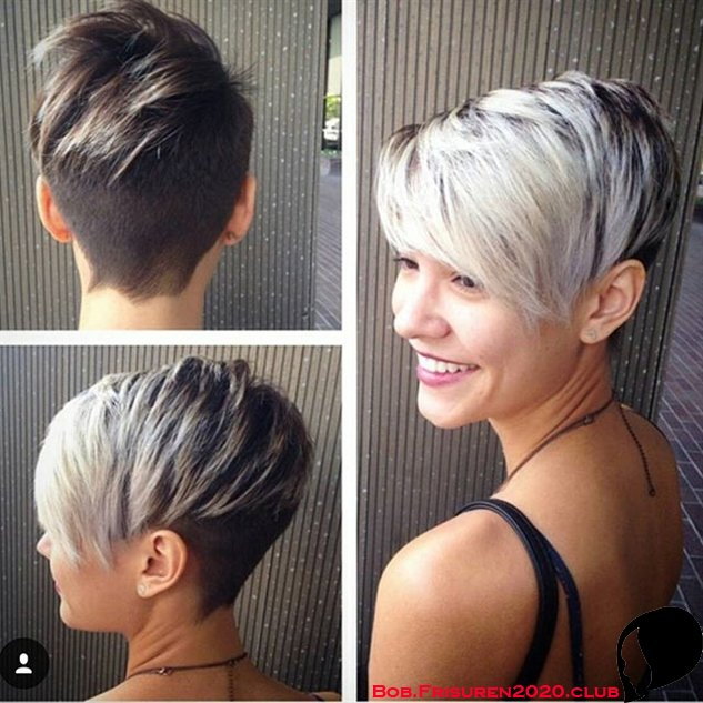 Zweifarbiger Pixie-Haarschnitt fur Kurzhaarfrisuren